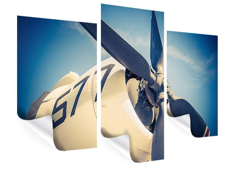 Poster 3-teilig modern Close Up Propellerflugzeug