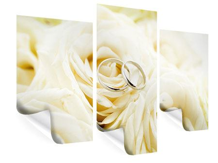 Poster 3-teilig modern Trauringe auf Rosen gebettet
