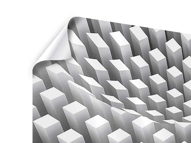 Poster 3-teilig modern 3D-Rasterdesign