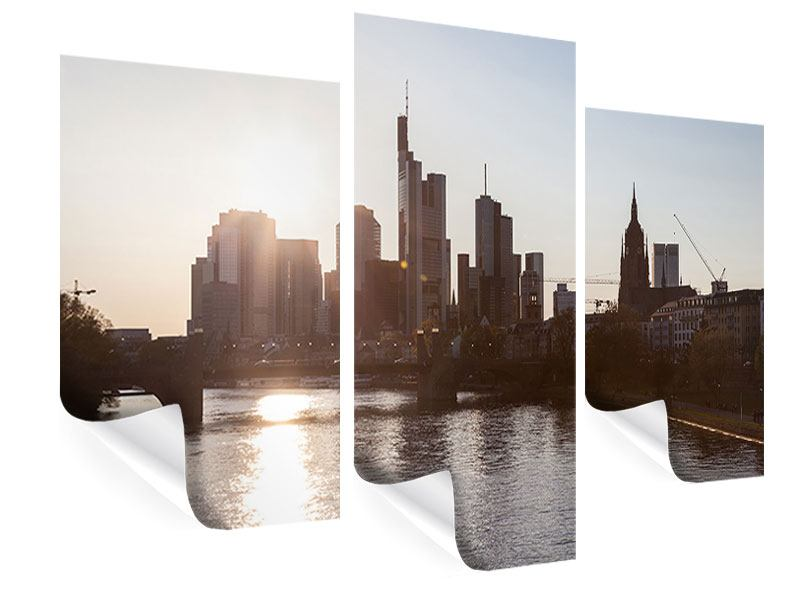 Poster 3-teilig modern Skyline Sonnenaufgang bei Frankfurt am Main