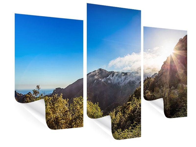 Poster 3-teilig modern Berge am Meer