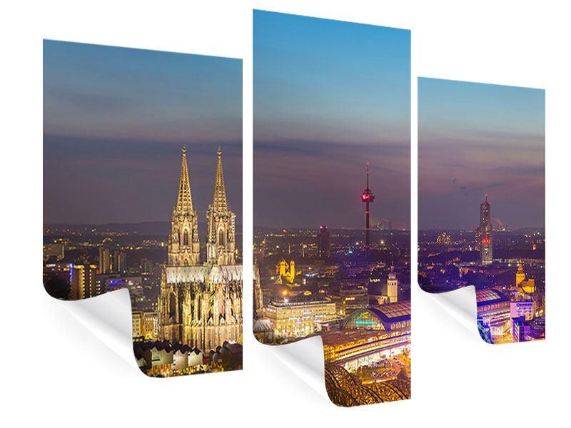 Poster 3-teilig modern Skyline Kölner Dom bei Nacht