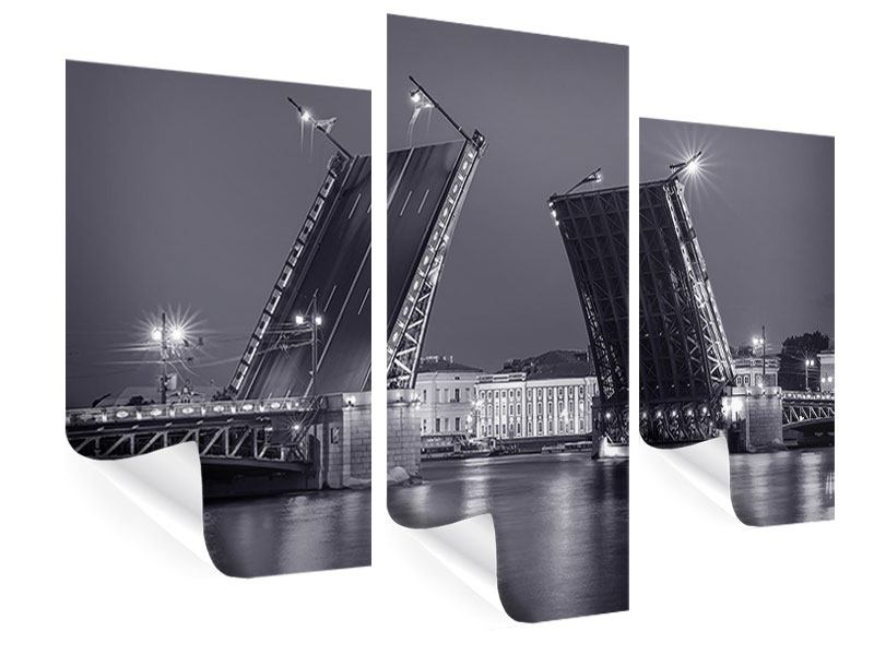 Poster 3-teilig modern Klappbrücke bei Nacht