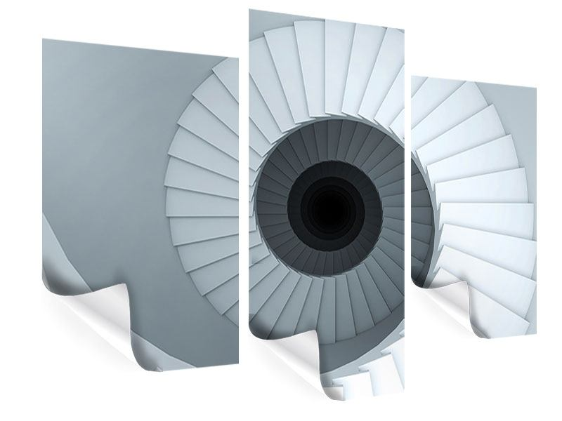 Poster 3-teilig modern 3D Wendeltreppe