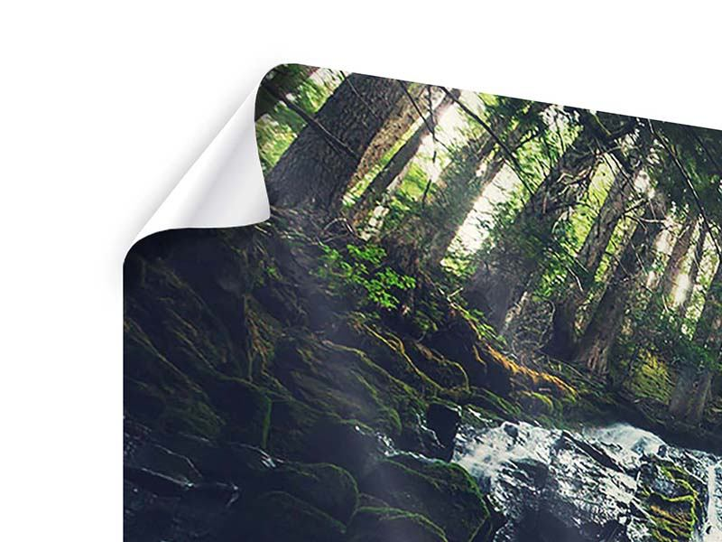 Poster 3-teilig modern Feng Shui & Wasserfall