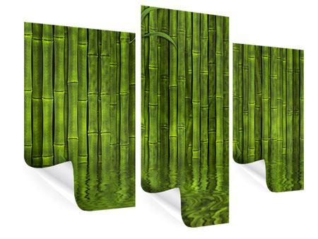 Poster 3-teilig modern Wasserspiegelung Bambus