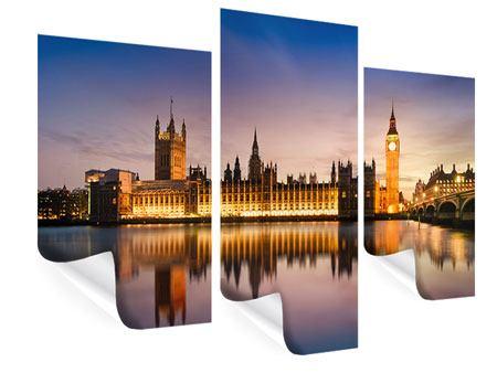 Poster 3-teilig modern Big Ben in der Nacht