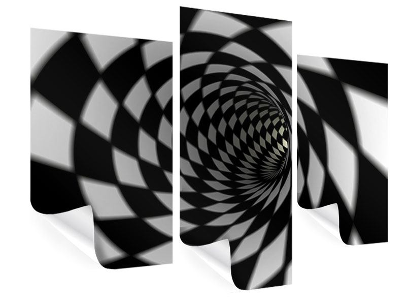 Poster 3-teilig modern Abstrakter Tunnel Black & White