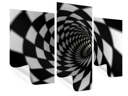 Poster 3-teilig modern Abstrakter Tunnel Black & White
