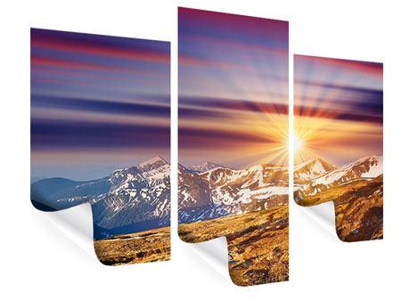Poster 3-teilig modern Majestätischer Sonnuntergang am Berggipfel