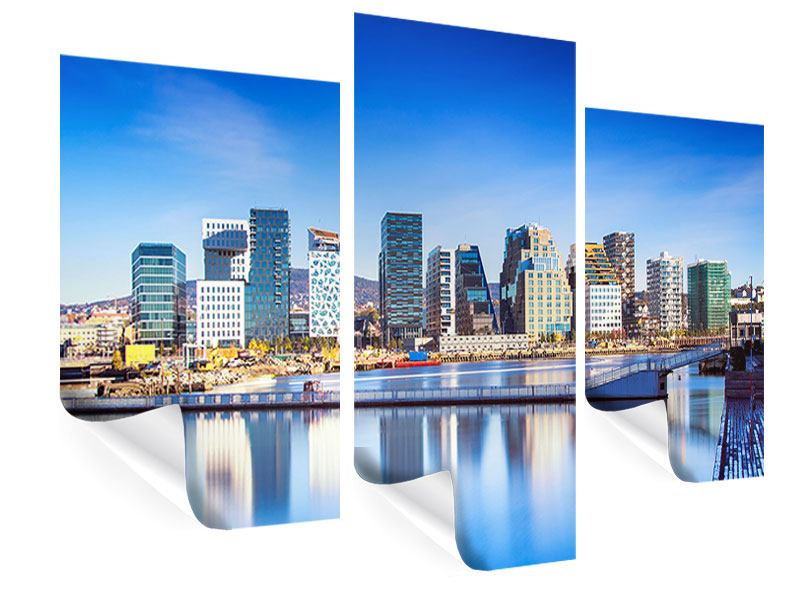 Poster 3-teilig modern Skyline Oslo