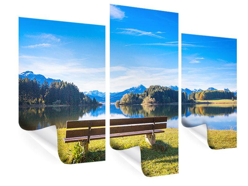 Poster 3-teilig modern Sitzbank mit Bergpanorama