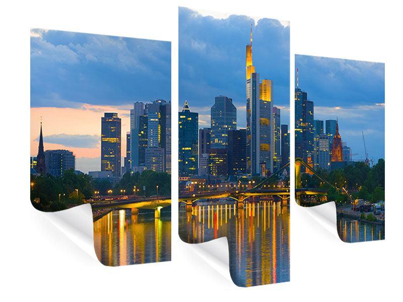 Poster 3-teilig modern Skyline Frankfurt am Main