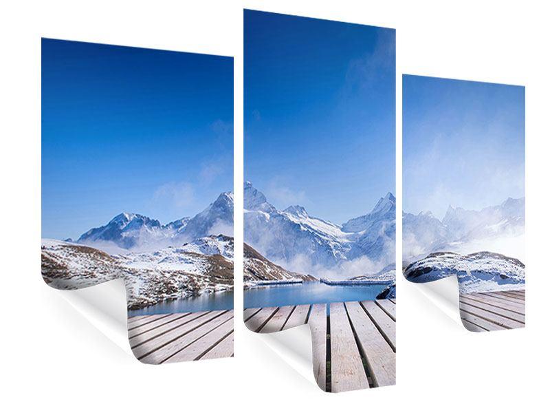 Poster 3-teilig modern Sonnenterrasse am Schweizer Bergsee