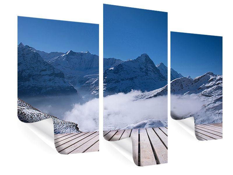Poster 3-teilig modern Sonnenterrasse in den Schweizer Alpen