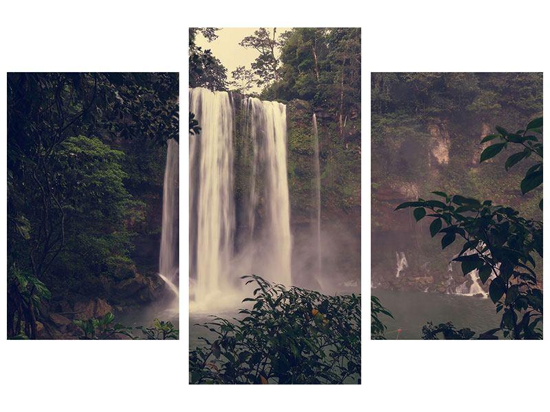 Poster 3-teilig modern Wasserfall in Mexiko