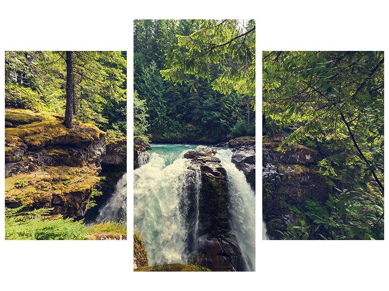Poster 3-teilig modern Flussströmung