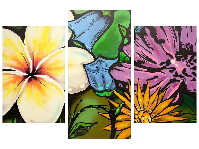 Poster 3-teilig modern Graffiti Flowers