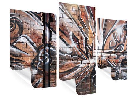 Poster 3-teilig modern Graffiti Mauer