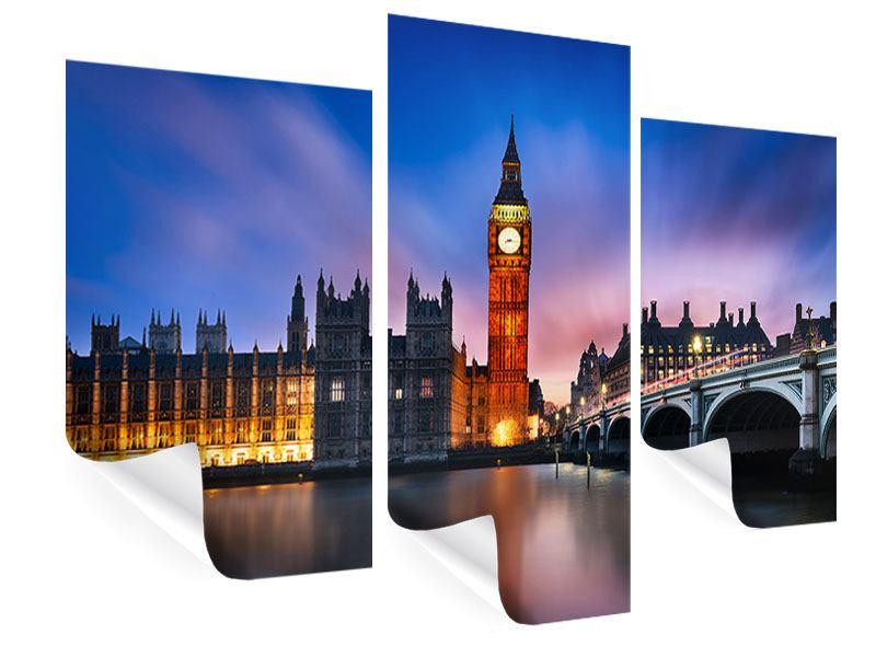 Poster 3-teilig modern Nachts am Big Ben