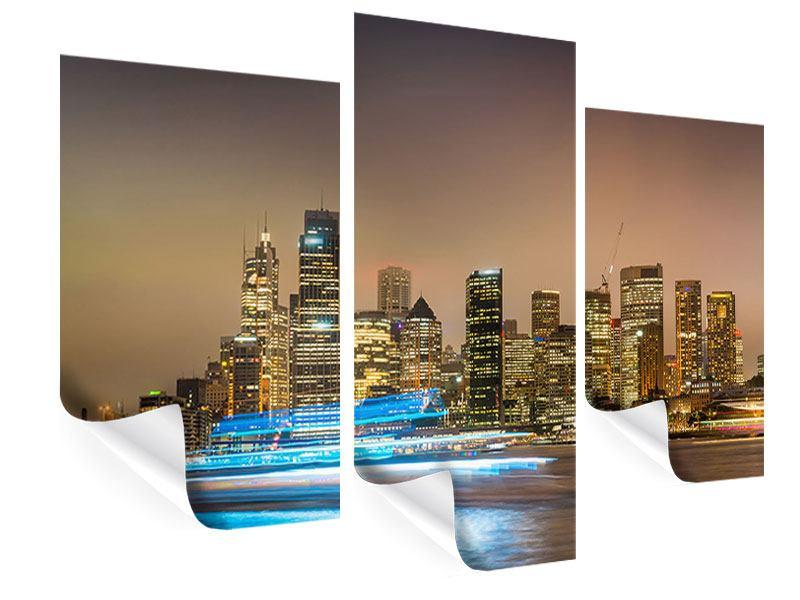Poster 3-teilig modern Skyline Sydney im Lichtermeer