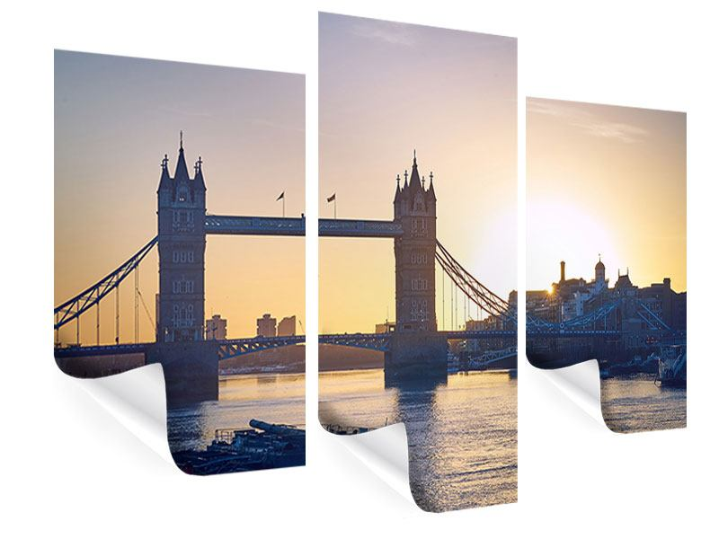 Poster 3-teilig modern Tower Bridge bei Sonnenuntergang