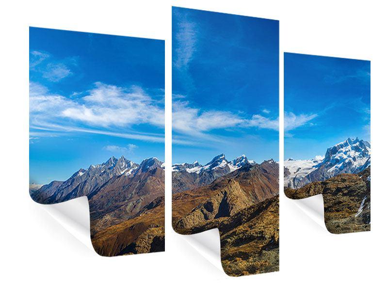 Poster 3-teilig modern Schweizer Alpen im Frühling
