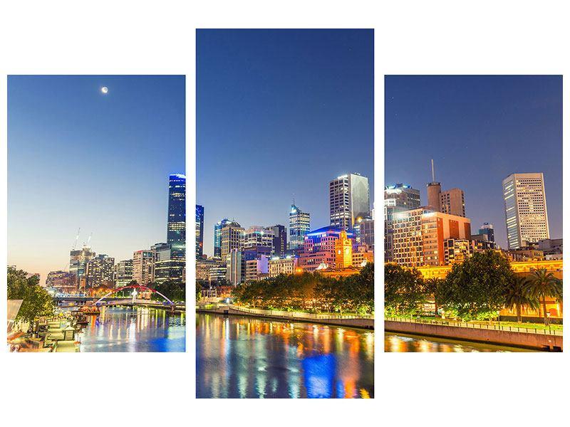 Poster 3-teilig modern Skyline Sydney in der Abenddämmerung
