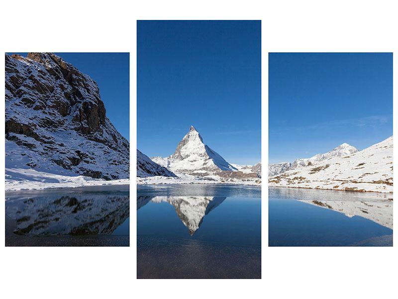 Poster 3-teilig modern Der Riffelsee am Matterhorn
