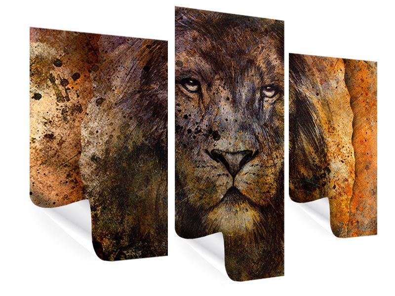 Poster 3-teilig modern Portrait eines Löwen