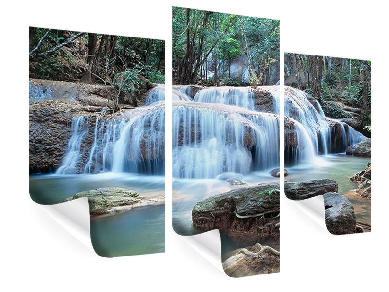 Poster 3-teilig modern Ein Wasserfall