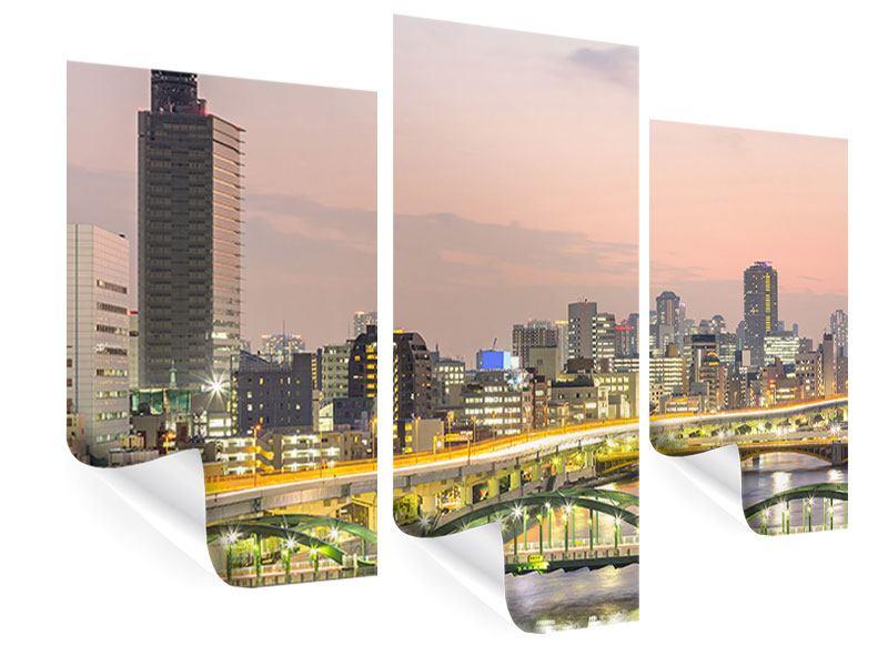 Poster 3-teilig modern Skyline Das Lichtermeer von Tokio