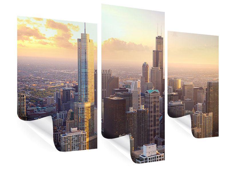 Poster 3-teilig modern Skyline Chicago