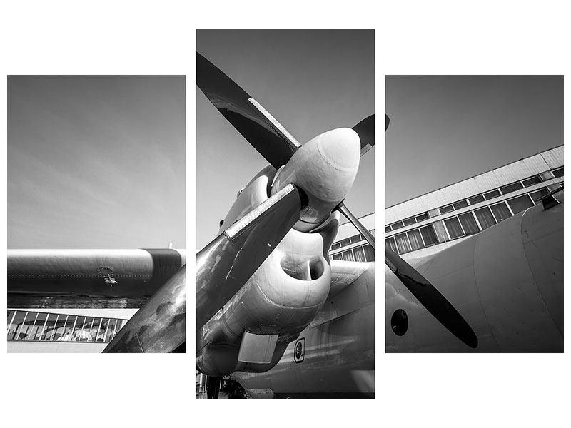 Poster 3-teilig modern Nostalgisches Flugzeug