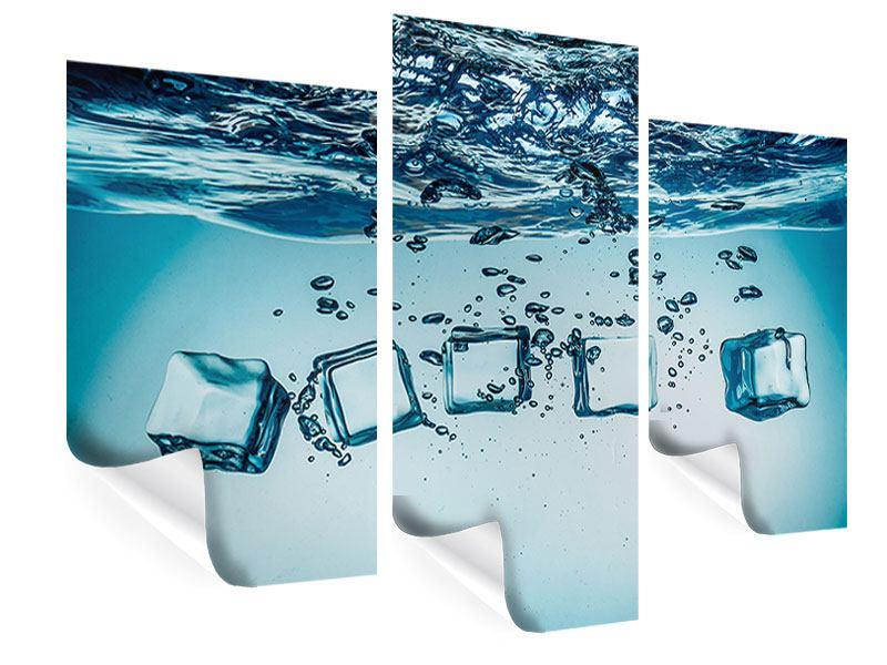 Poster 3-teilig modern Eiswürfel-Quadro