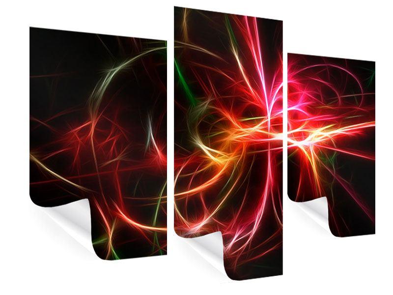Poster 3-teilig modern Fraktales Lichtspektakel