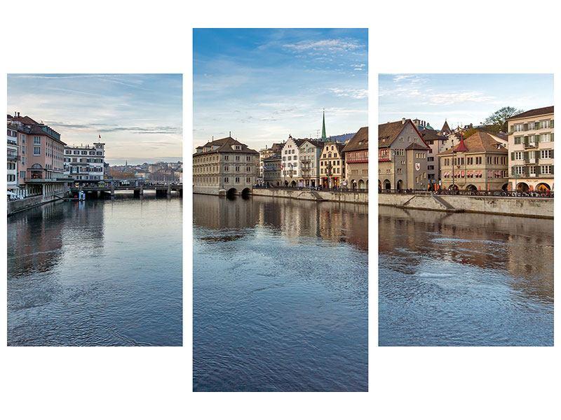 Poster 3-teilig modern Kosmopolitisches Zürich