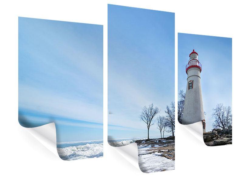 Poster 3-teilig modern Leuchtturm im Schnee