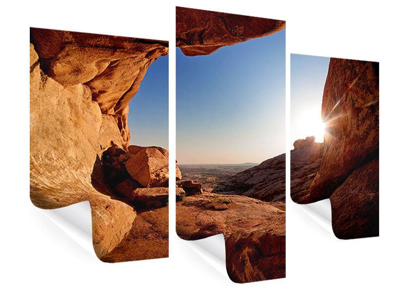 Poster 3-teilig modern Sonnenuntergang vor der Höhle