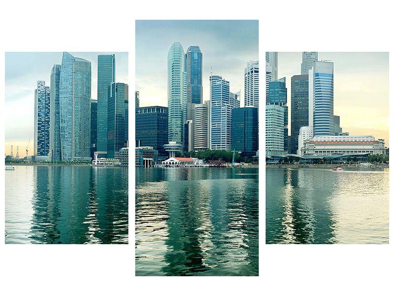 Poster 3-teilig modern Skyline Sonnenaufgang in Singapur