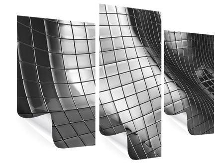 Poster 3-teilig modern Abstrakter Stahl