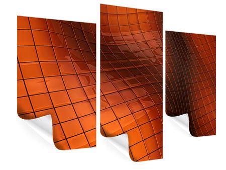 Poster 3-teilig modern 3D-Kacheln