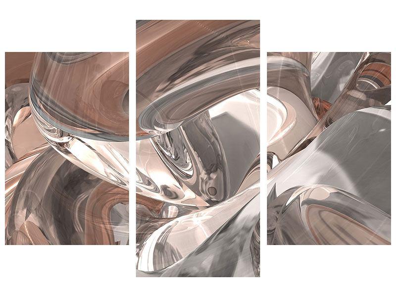 Poster 3-teilig modern Abstraktes Glasfliessen