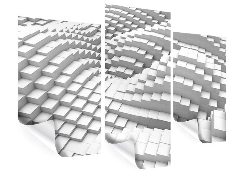 Poster 3-teilig modern 3D-Elemente