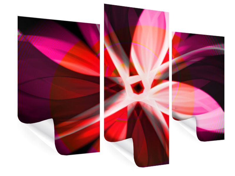 Poster 3-teilig modern Abstrakt Flower Power
