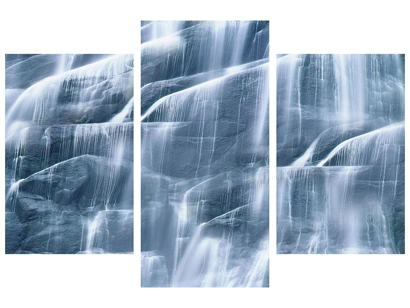 Poster 3-teilig modern Grossartiger Wasserfall