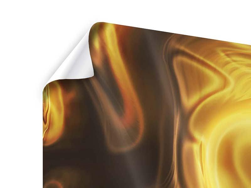 Poster 3-teilig modern Abstrakt Flüssiges Gold