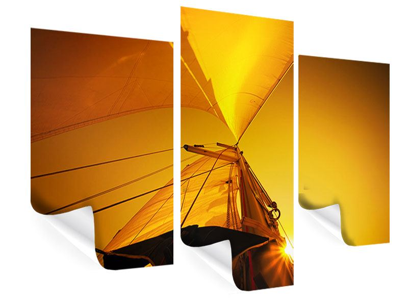 Poster 3-teilig modern Segelboot im Sonnenuntergang