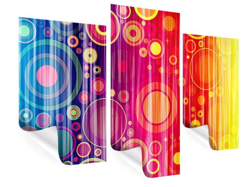 Poster 3-teilig modern Grunge-Retrokreise
