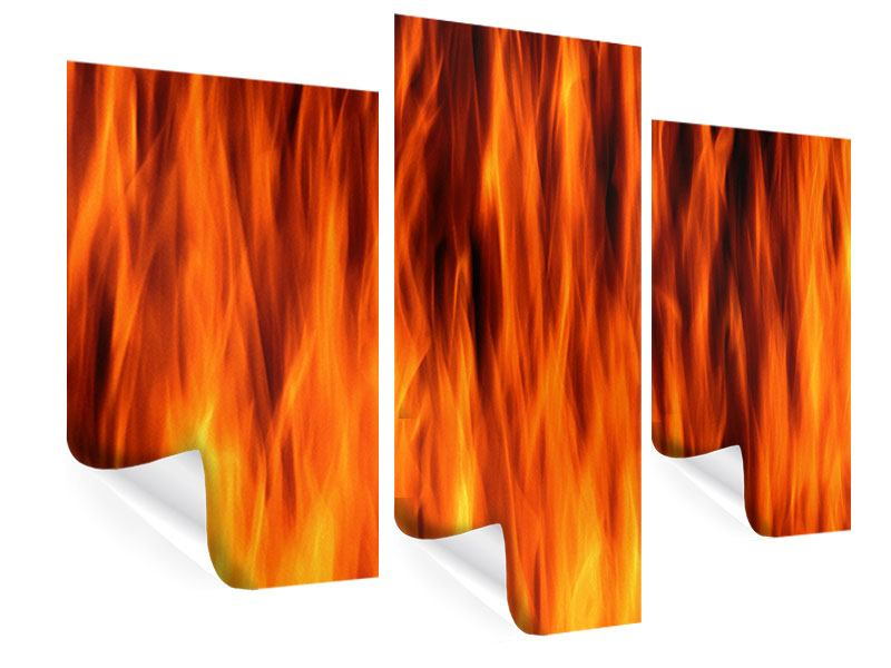 Poster 3-teilig modern Feuer Close Up
